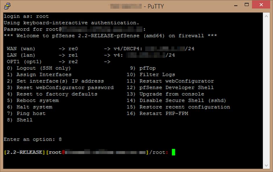 pfSense SSH to Command Shell